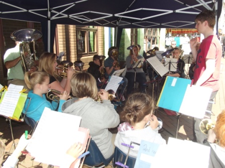 The Junior Band in full swing at Abergavenny Town Centre